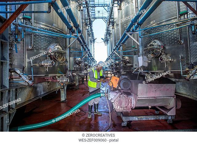 Worker in winery controlling wine tanks