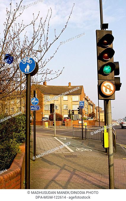 Traffic signal on the road Harrow ; London ; U.K. United Kingdom England
