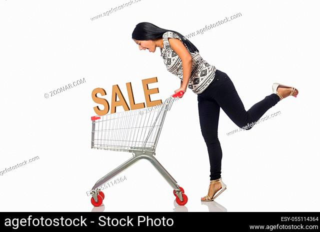 Young woman doing shopping isolated on white