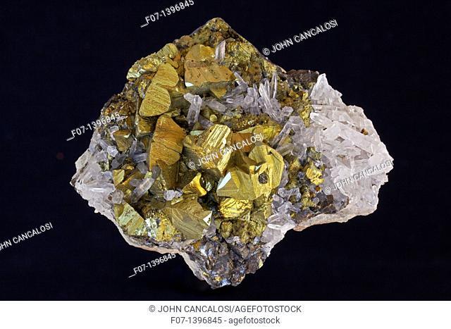 Chalcopyrite CuFeS2 Golden - Peru - The major ore of copper - Copper Iron sulfide - Very important economic ore - Quartz SiO2