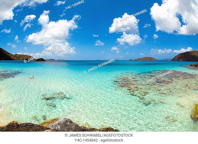 Cinnamon Bay in the Virgin Islands National Park on the Caribbean island of St  John in the US Virgin Islands