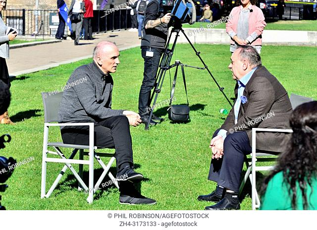 Chris Williamson MP (Labour: Derby North) being interviewed by Alex Salmond for Russia Today TV