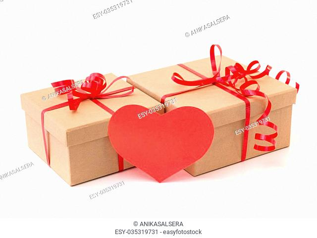Valentine gift boxes with red heart, isolated on white background