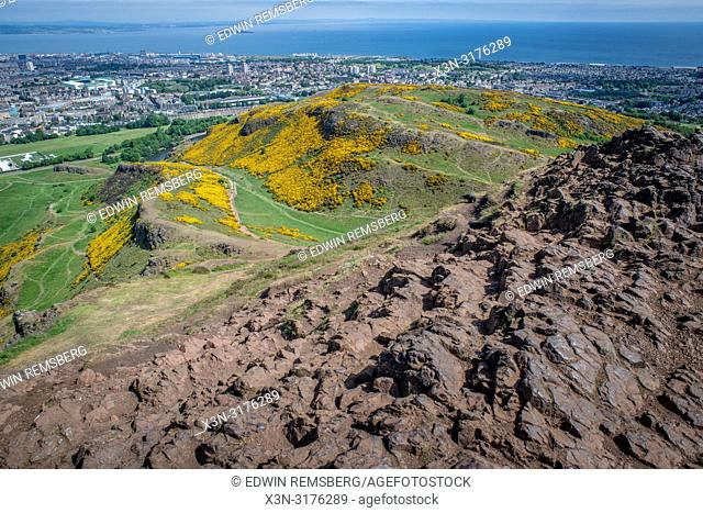 A view of the city scape from Arthurs Seat (Holyrood Park) in Scotland