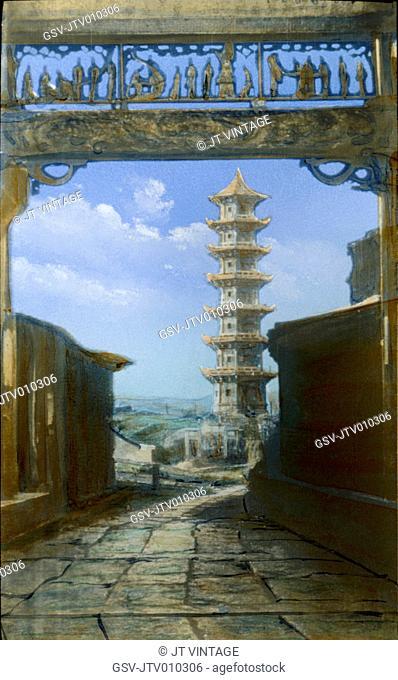 Pagoda, China, Hand-Colored Magic Lantern Slide, Newton & Company, 1920