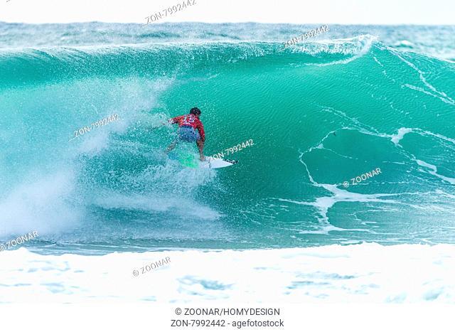 PENICHE, PORTUGAL - OCTOBER 30, 2015: Italo Ferreira (BRA) during the Moche Rip Curl Pro Portugal, Men's Samsung Galaxy Championship Tour #10