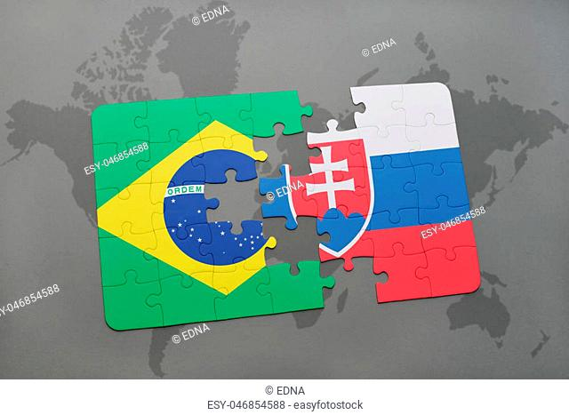 puzzle with the national flag of brazil and slovakia on a world map background. 3D illustration