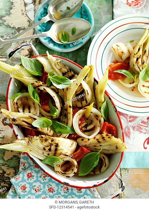 Grilled fennel and tomato salad with basil