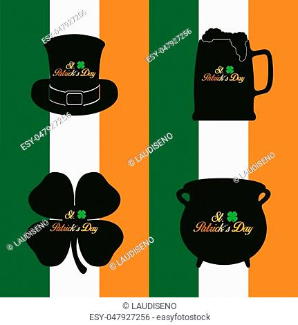 Set of patrick's day traditional objects, Vector illustration