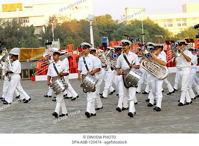 Indian Navy musical band perform beating retreat at Gateway of India in Bombay now Mumbai; Maharashtra; India