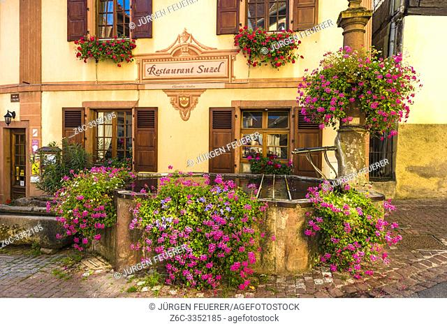 old scenic well with exuberant flower decoration in Hunawihr, typical for the Alsace Wine Route, France, member of the most beautiful villages of France