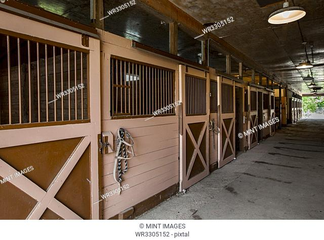 Closed stables in barn
