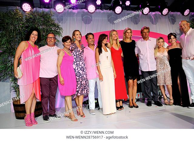 Gwyneth Paltrow (sixth from right) attending the 2016 Hamptons Paddle & Party For Pink at Fairview on Mecox Bay in Bridgehampton, New York