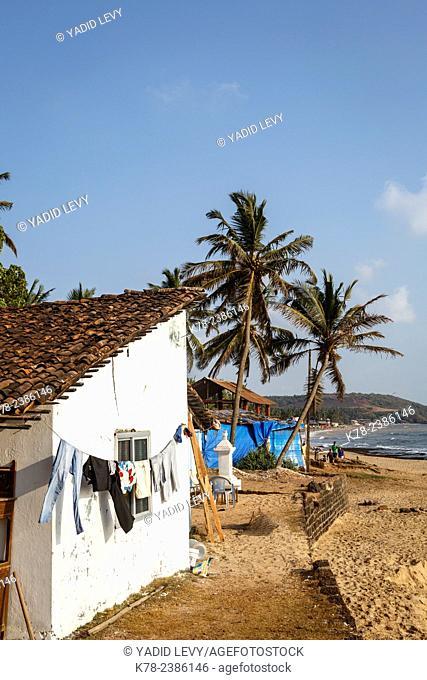 A typical Goan house on Anjuna beach, Goa, India
