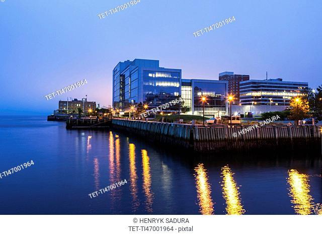 Canada, Nova Scotia, Halifax, City at dusk