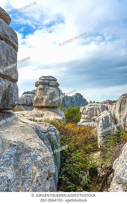 rock formation in the mountain range of the nature reserve El Torcal de Antequera, province of Málaga, Andalusia, Spain