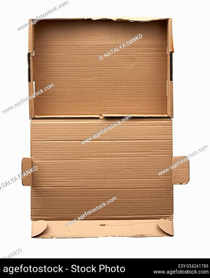 rectangular folding box for shipping goods isolated on a white background, close up