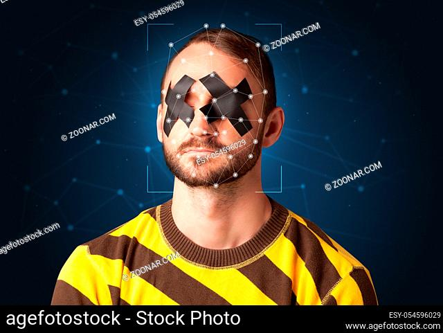 Recognition of a face by layering a mesh. Biometric verification and identification
