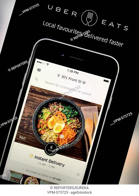 Uber eats,instant and on-demand meal and food delivery;Uber eats, livraison de restaurant a domicile Reporters / EUREKA