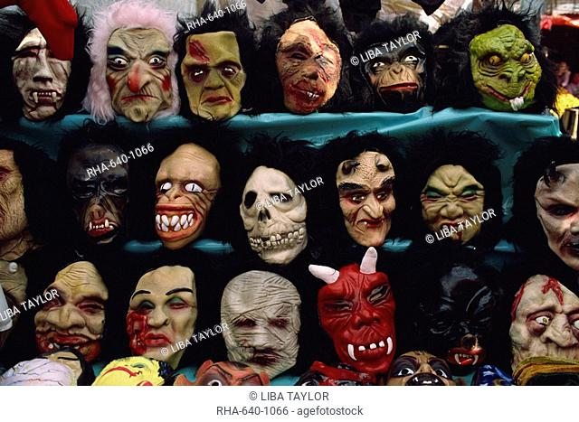 Rows of Halloween masks on sale, Mexico City, Mexico, North America