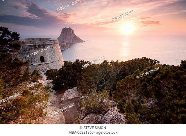 View to Isla de es Vedrà, Sunset, Ibiza, Spain