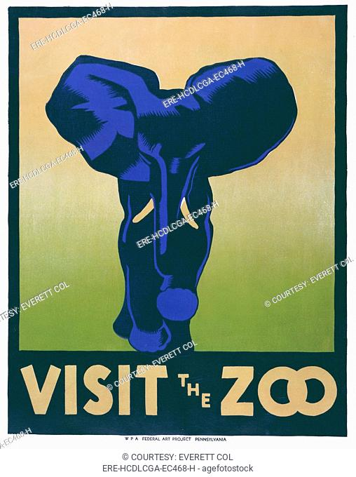 Poster promoting the zoo as a place to visit, showing an elephant, reads: 'Visit the zoo', designed by Hugh Stevenson, for the Works Progress Administration