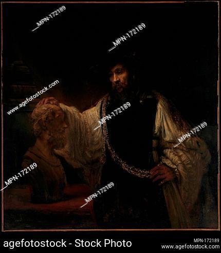 Aristotle with a Bust of Homer. Artist: Rembrandt (Rembrandt van Rijn) (Dutch, Leiden 1606-1669 Amsterdam); Date: 1653; Medium: Oil on canvas; Dimensions: 56...