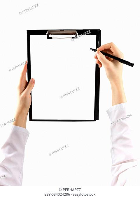 female hand holding a pen and clipboard with blank paper or document, report isolated on white background. Top view