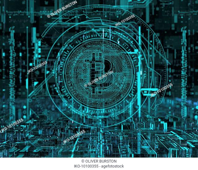 Circuit board bitcoin in complex digital technology cyberspace