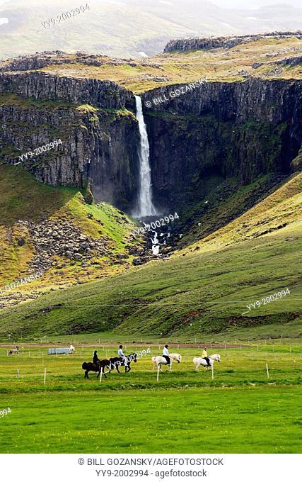 Horseback riding near Grundarfjorour - Snaefellsnes Peninsula, Northwest Iceland