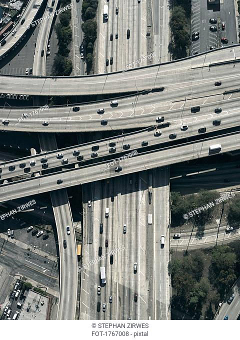 Aerial view freeways and overpasses, Los Angeles, California, USA