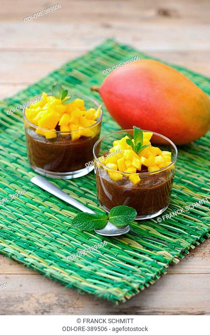Chocolate and mango mousses