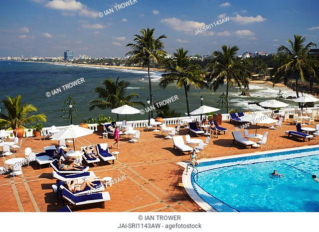 Swimming pool and outdoor terrace at Mount Lavinia Hotel, Mount Lavinia, Colombo, Sri Lanka