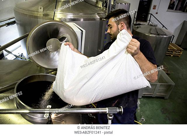 Man pouring a bag of malt in a beer tank in a factory