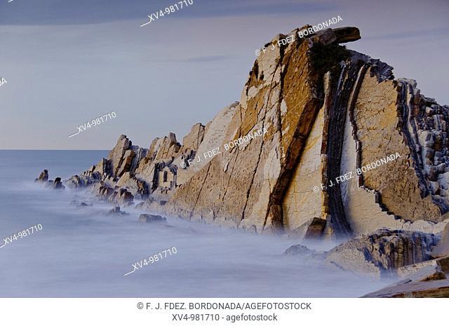 Seaside scenes at Sopelana and Azkorri beachs in Bilbao coastline  Northem Spain