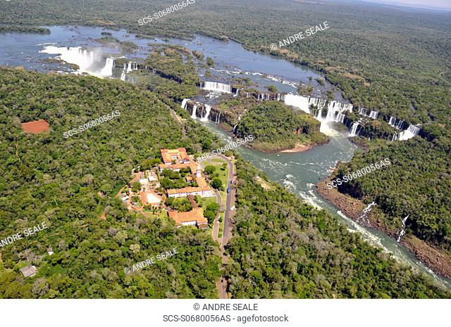 Aerial view of Iguassu Falls, including 'Hotel das Cataratas' on Brazilian side and falls on Argentinian side