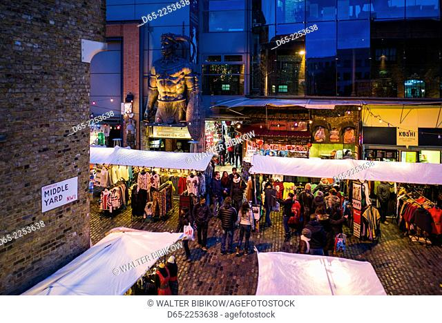 England, London, Mayfair, outdoor market, dusk