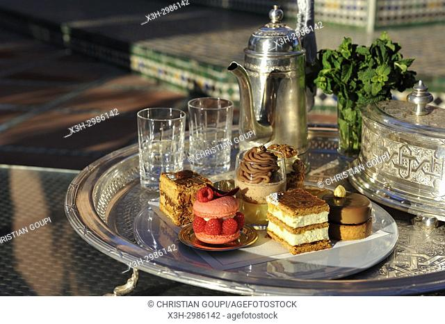 pastries designed by Pierre Herme and made by Richard Bourlon, served with mint tea at the pavillion Menzeh within the gardens of the luxury 5 stars hotel La...