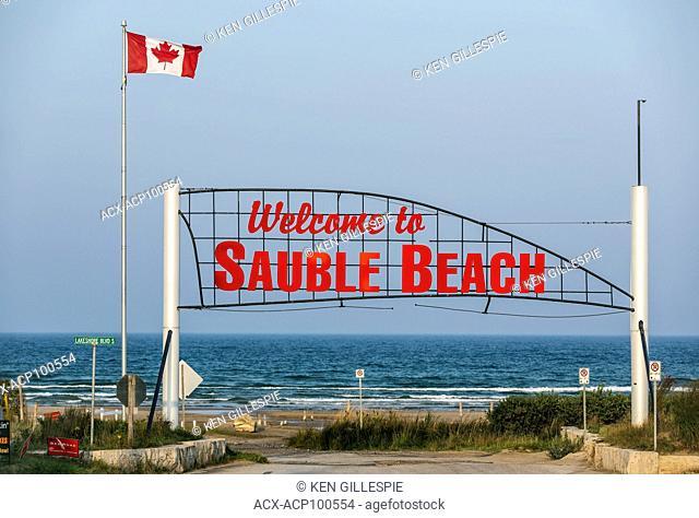 Welcome to Sauble Beach sign, Lake Huron, Ontario, Canada