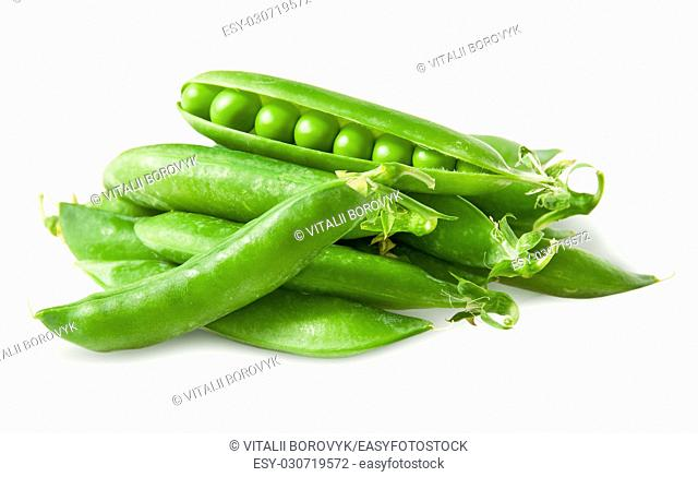 Pile closed pea pods and one open isolated on white background