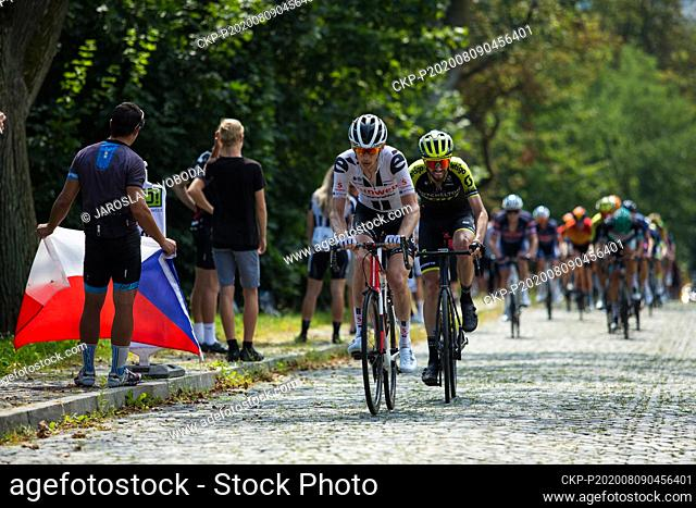 American cyclist Chad Haga (Sunweb), left, and Australian Damien Howson (Mitchelton Scott), right, compete during the Czech Cycling Tour in Sternberk