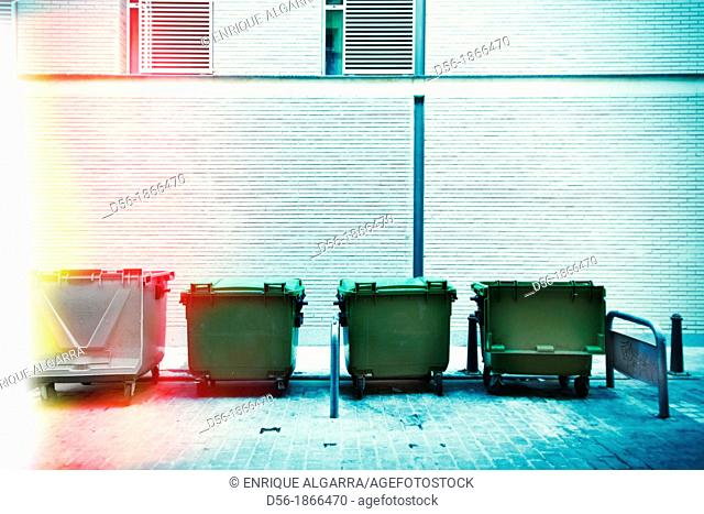 Garbage containers, Valencia, Spain