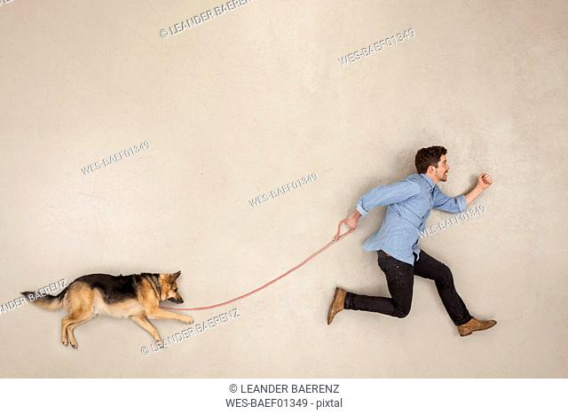 Man walking his dog