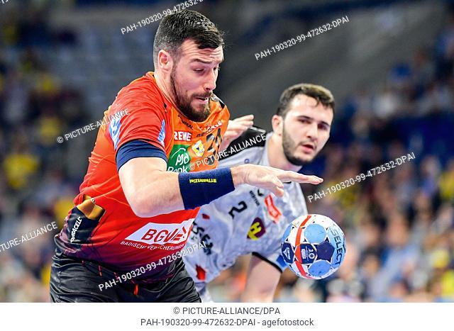 20 March 2019, Baden-Wuerttemberg, Mannheim: Handball: Champions League, Rhein-Neckar Löwen - HBC Nantes, final round, knockout round