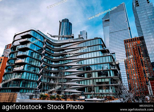 New York City - USA - Mar 14 2019: 520 West 28th introduces an iconic new landmark to New York City. Designed by Pritzker Prize-winning architect Zaha Hadid and...
