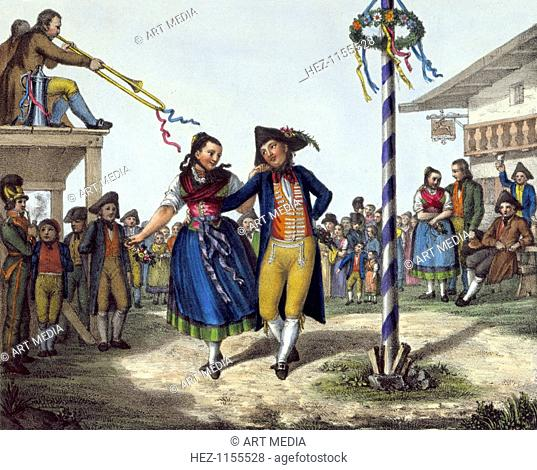 Popular festivities, mid 19th century. A young couple dance round a garlanded pole (Maypole) while a second couple wait outside the inn to take their turn