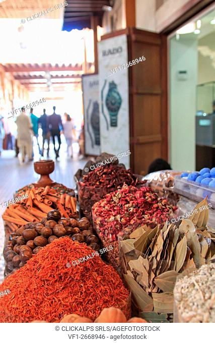Spices in the spice souk in Dubai, United Arab Emirates