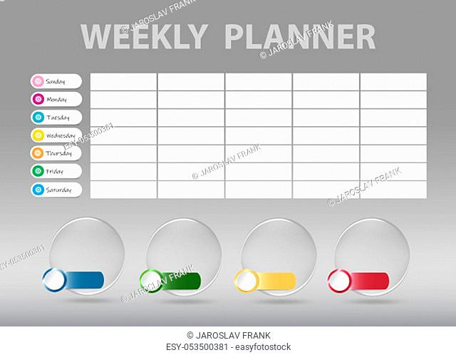 Weekly planner desk on the gray background with four transparent glass balls for quarter markings ready for your text. Week starts Sunday