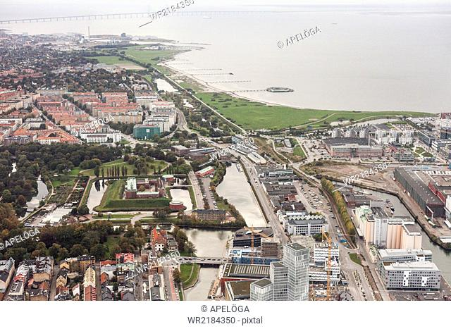 Aerial view of residential district by river