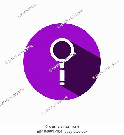 Magnifying glass icon on a purple circle background with shade. Vector illustration